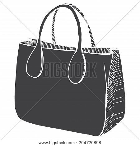 Bag female male unisex isolated on white background. Vector illustration of a sketch style.