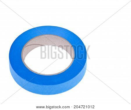 Blue painter's tape for multi surfaces isolated on white background