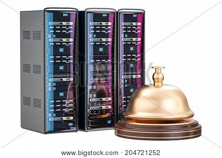 Computer Server service concept 3D rendering isolated on white background