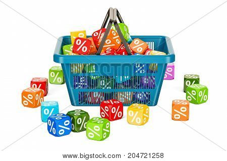 Discount and sale concept with shopping basket 3D rendering isolated on white background