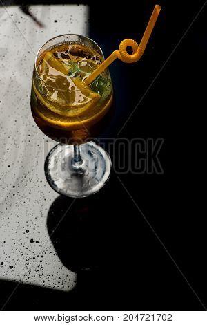 Cocktail On Black Round.