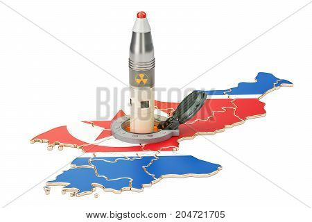 Korean missile launches from its underground silo launch facility 3D rendering