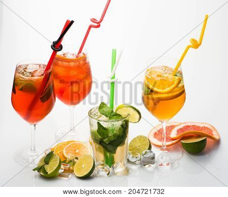 Cocktails Isolated On White Background With Mojito.