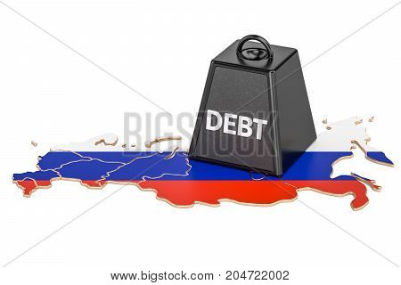 Russian national debt or budget deficit financial crisis concept 3D rendering