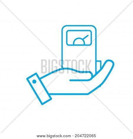 silhouette hand with gas machine to environment care vector illustration