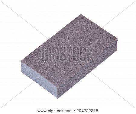 Double sided multi grit jumbo sanding sponge isolated on white background