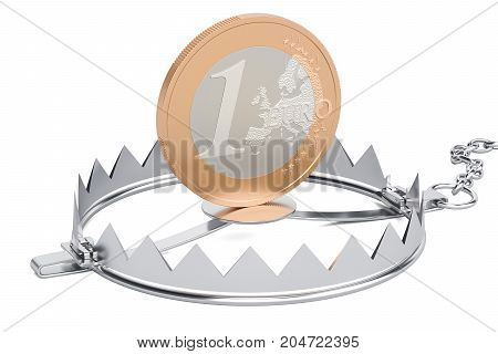 Trap with euro coin 3D rendering isolated on white background