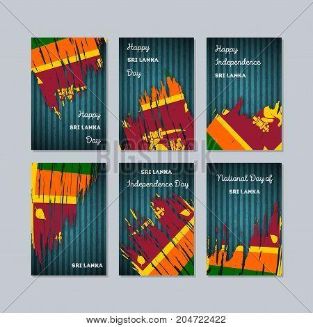 Sri Lanka Patriotic Cards For National Day. Expressive Brush Stroke In National Flag Colors On Dark
