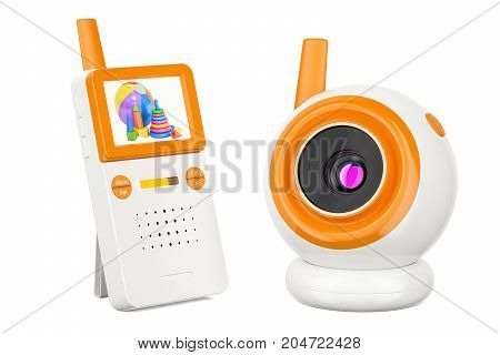 Video baby monitor baby cam. 3D rendering isolated on white background