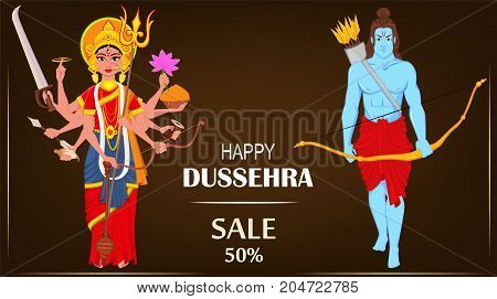 Lord Rama and Durga for Dussehra Navratri festival of India. Vector illustration for holiday.