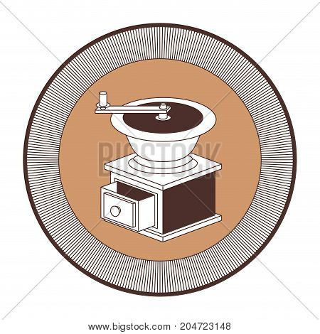 logo shield decorative of coffee grinding with crank striped silhouette color section on white background vector illustration
