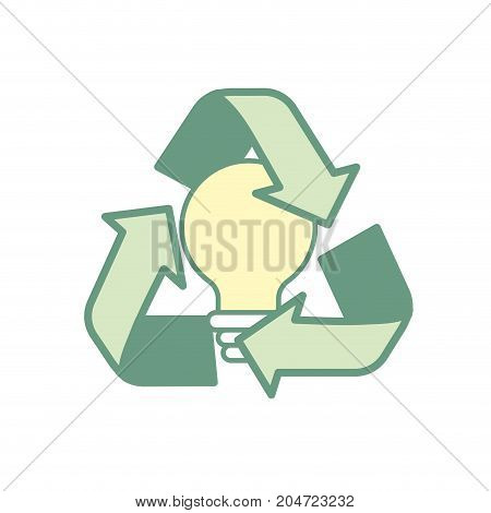 pretty environment symbol and bulb with leaf inside vector illustration