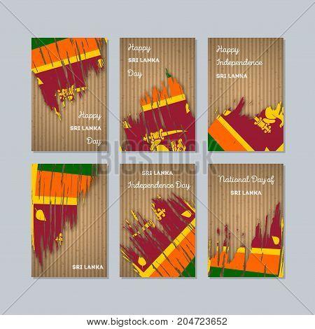 Sri Lanka Patriotic Cards For National Day. Expressive Brush Stroke In National Flag Colors On Kraft