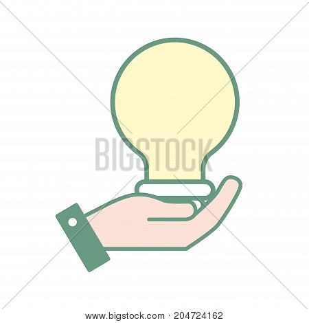 hand with bulb energy design vector illustration
