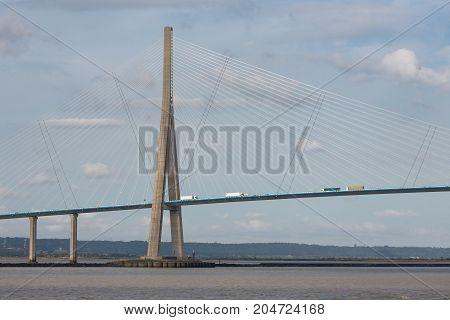 Pont de Normandie bridge over river Seine between Le Havre and Honfleur in France