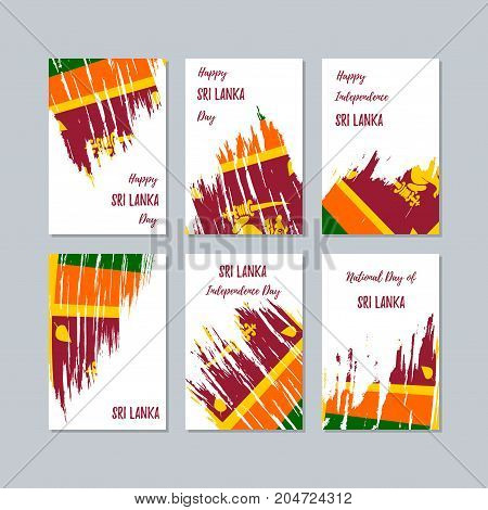 Sri Lanka Patriotic Cards For National Day. Expressive Brush Stroke In National Flag Colors On White
