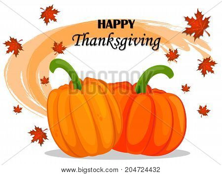 Happy Thanksgiving Day greeting card with pumpkins and maple leaves. Vector stock illustration