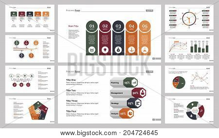 Infographic design set can be used for workflow layout, diagram, annual report, presentation, web design. Business and statistics concept with process, line, bar, pie and timing charts.