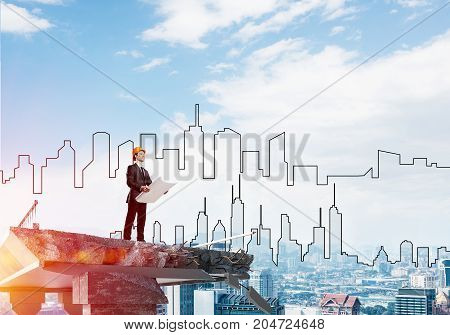 Confident engineer in helmet keeping drawings in hands while standing on broken bridge with sketched cityscape and sunlight on background. 3D rendering.