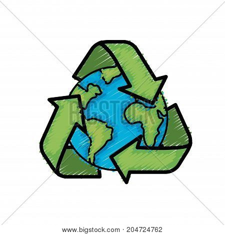earth planet with recycle symbol design vector illustration