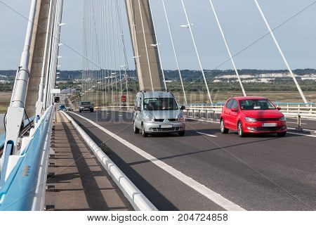Traffic at Pont de Normandie French bridge over river Seine near Le Havre and Honfleur