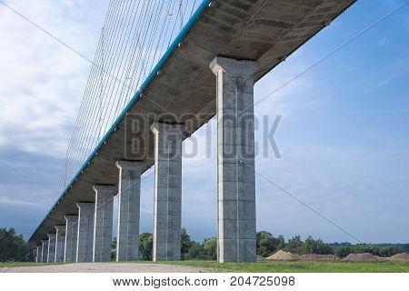 Concrete pillars of Pont de Normandie over river Seine in France