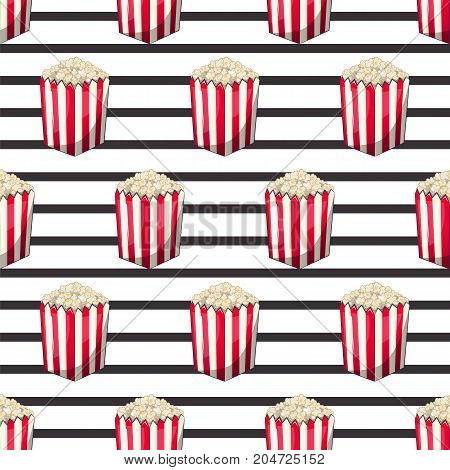 Popcorn is isolated in a strip wrapper box for your produce, an appetizer bucket when you watch movies. Pattern, background Miniature fast food Vector illustration for your project.