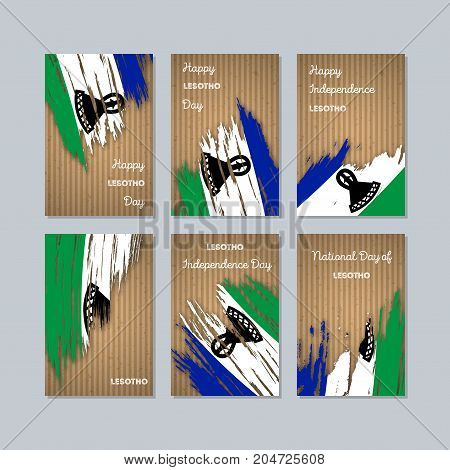 Lesotho Patriotic Cards For National Day. Expressive Brush Stroke In National Flag Colors On Kraft P