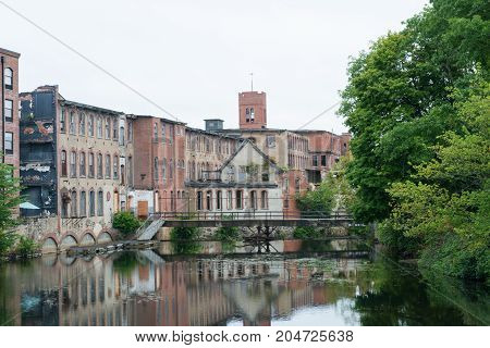Abandoned cotton mill on the Pawtuxet River Warwick Rhode Island