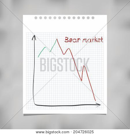 Conception of bear market, chart on ripped note paper, vector illustration