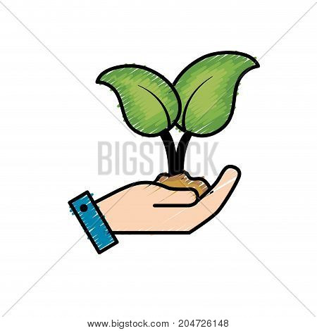 nice plants with ground to natural ecology vector illustration