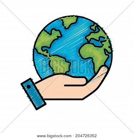 hand with earth planet and natural ecology vector illustration