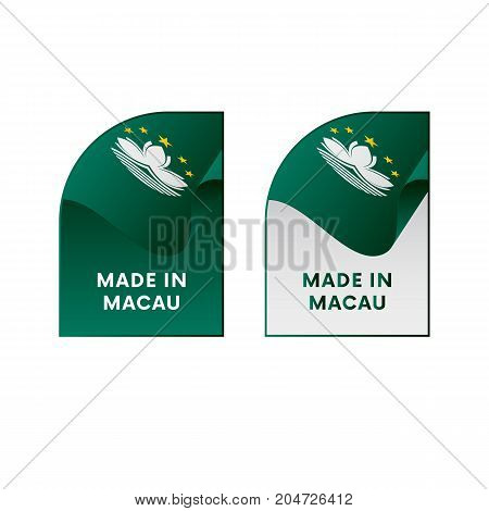 Stickers Made in Macau. Waving flag. Vector illustration.