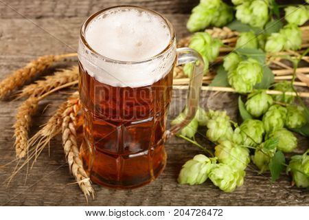 glass of foamy beer with hop cones and wheat on old wooden background.