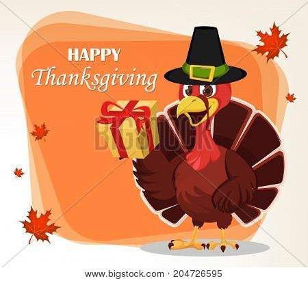 Thanksgiving greeting card with a turkey bird wearing a Pilgrim hat and holding a gift box. Funny cartoon character for holiday. Vector illustration with maple leaves on background.