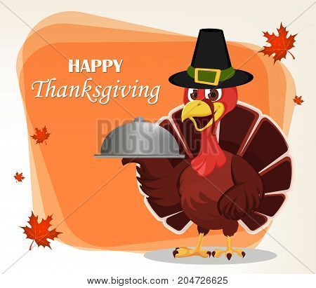 Thanksgiving greeting card with a turkey bird wearing a Pilgrim hat and holding restaurant cloche. Funny cartoon character for holiday. Vector illustration with maple leaves on background.