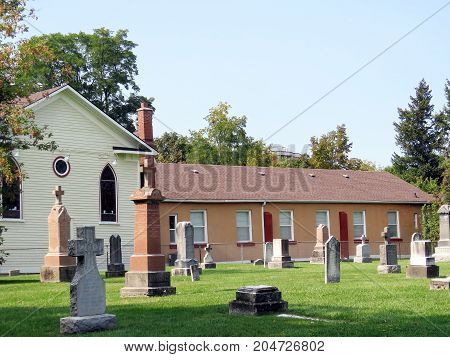 Thornhill, Canada - September 16, 2017: Cemetery of Ukrainian Catholic Church of Saint Volodymyr.