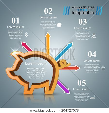 Pig coin. Bussines infographic Marketing icon. Vector eps 10