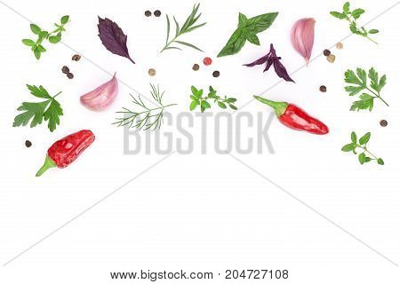Fresh spices and herbs isolated on white background with copy space for your text. Dill parsley basil thyme chili peppercorns garlic. Top view.