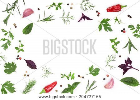 Frame of fresh spices and herbs isolated on white background with copy space for your text. Dill parsley basil thyme chili peppercorns garlic. Top view.