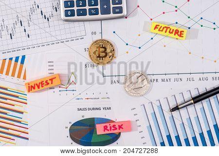 bitcoin and litecoin above business graph calculator