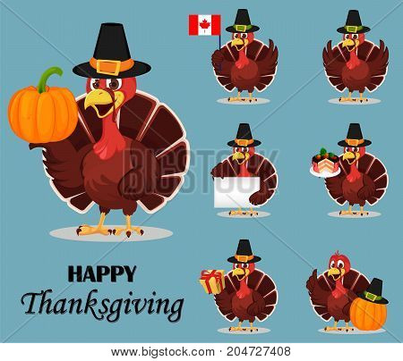 Thanksgiving turkey bird wearing a Pilgrim hat. Set of seven vector illustrations with funny cartoon character for holiday.