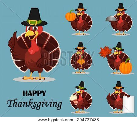 Thanksgiving turkey bird wearing a Pilgrim hat and holding different things. Set of seven vector illustrations with funny cartoon character for holiday.