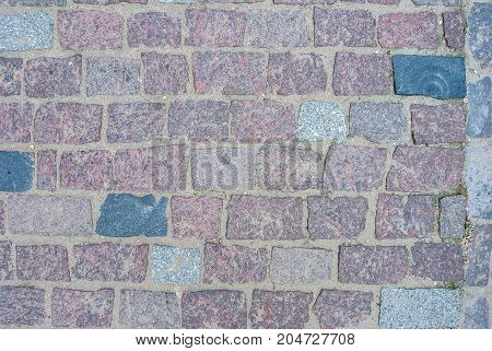 Old Square Stone Floor As Texture. Close Up