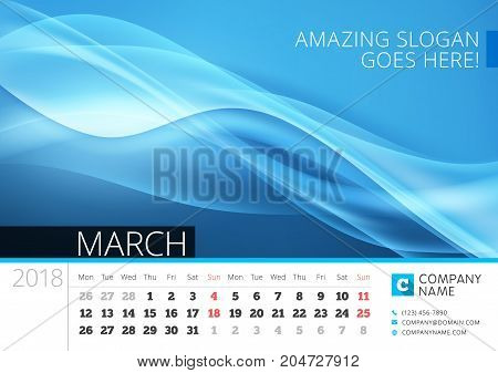 Desk Line Calendar For 2018 Year. March. Vector Design Print Template With Abstract Background. Week