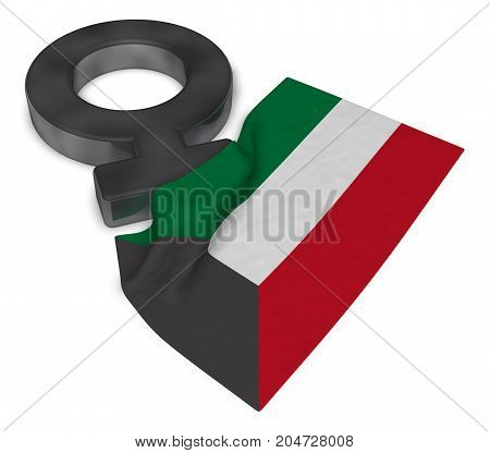 female symbol and flag of kuwait - 3d rendering