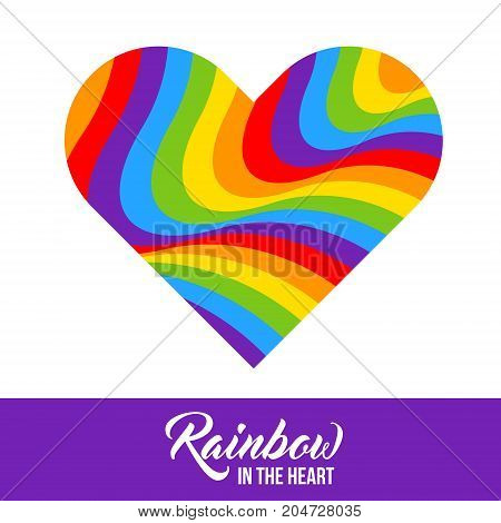 Rainbow colored heart LGBT colors. Abstract geometric pattern. Vector illustration.