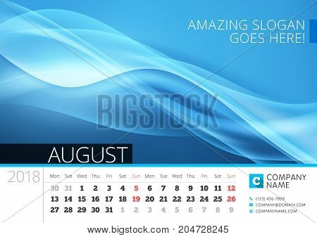 Desk Line Calendar For 2018 Year. August. Vector Design Print Template With Abstract Background. Wee