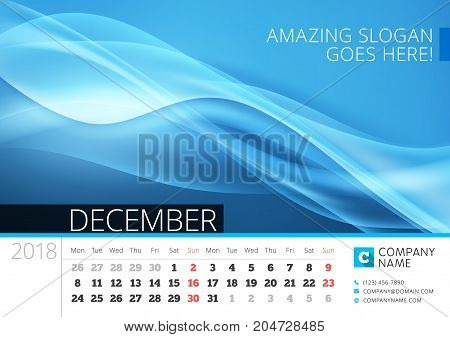 Desk Line Calendar For 2018 Year. December. Vector Design Print Template With Abstract Background. W