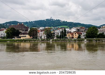 A view on the left bank of Danube in Linz near Nibelungenbrucke
